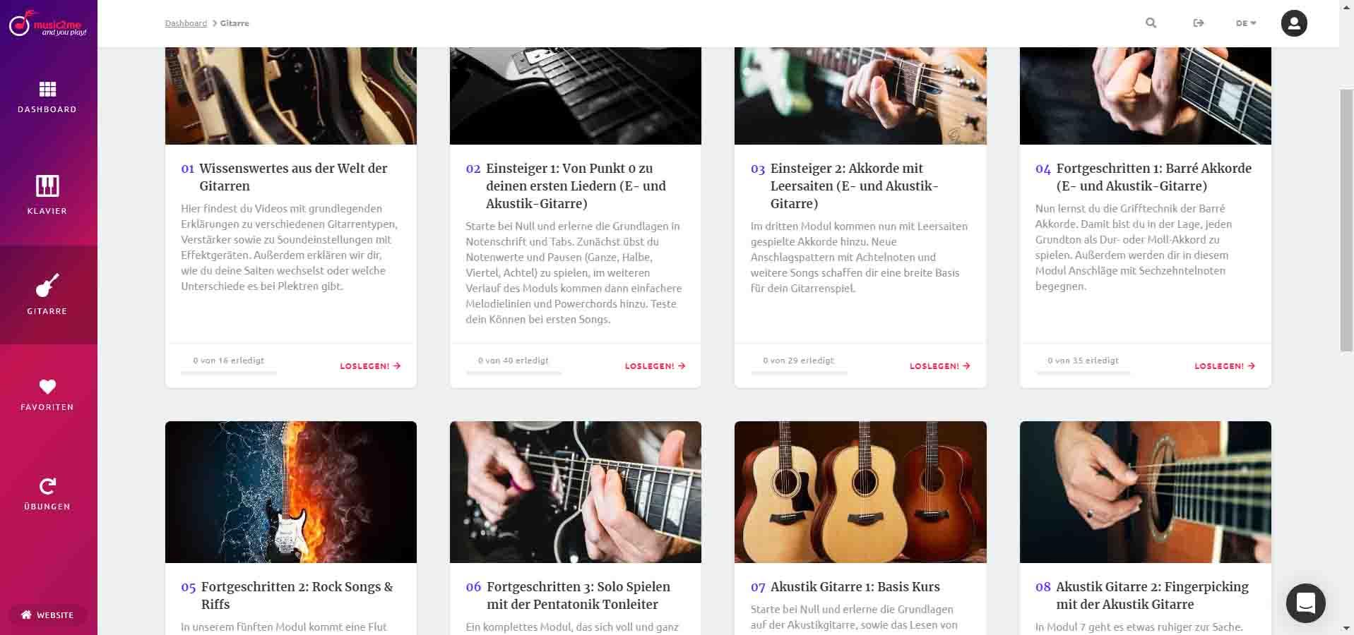 music2me Gitarrenkurs Module