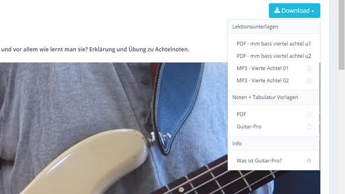 E-Bass lernen Steffen Knauss Lektionunterlagen