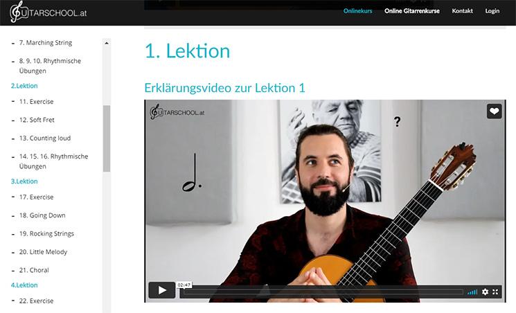 Mitgliederbereich Gitarre online elementar